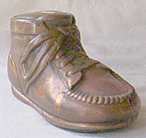 Adorable Copper Infant Shoe Still Bank