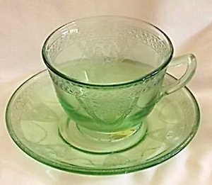 Federal Glass Parrot Cup & Saucer