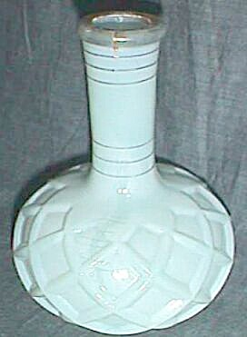Antique Perfume Bottle No Stopper Teal Diamond Pattern
