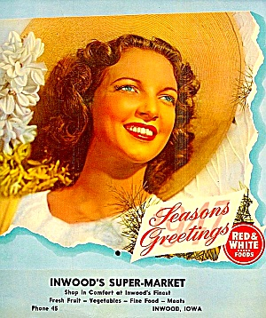1947 Inwood Ia Red & White Foods Store Calendar, Product Pix