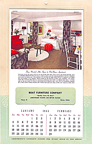 1948 Calendar: Armstrong Floors; Boat Furniture Co., Pella, Ia