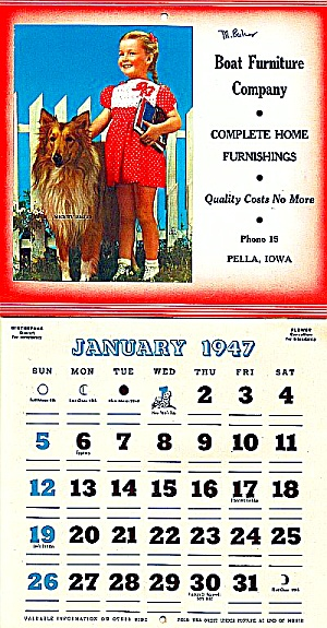 1947 Boat Furniture, Pella Ia Calendar, Cute Girl, Collie Dog