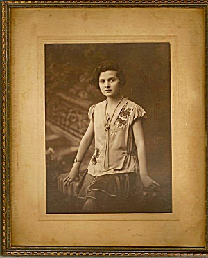 Estate Photo, Young Polish Girl, Wwii Era Framed Portrait