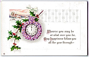 1914 Violets & Holly On New Year Clock