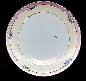 Violets On Hand-painted Floral Meito Plate