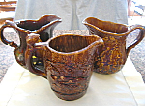Antique Rockingham Pottery Pitchers
