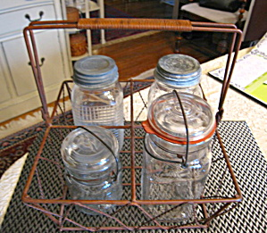 Wire Basket And Vintage Jars