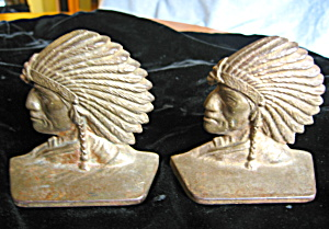 Native American Iron Chief Bookends