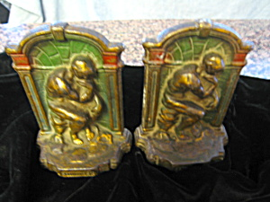Thinker Vintage Polychrome Bookends