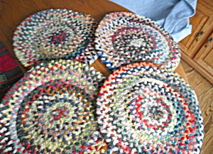 Four Vintage Chenille Chair Pads