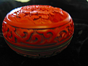 Vintage Lotus Flower Cinnabar Box