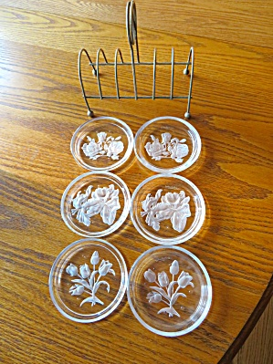 Val St. Lambert Etched Coasters
