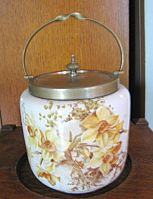 Antique Biscuit Jar Daffodils