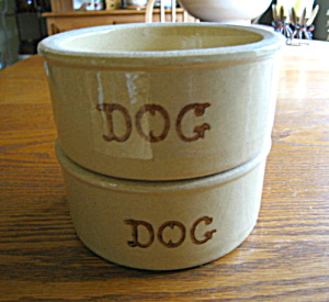Ransbottom Stoneware Dog Bowl Pair