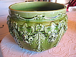 Vintage Green Pottery Jardiniere