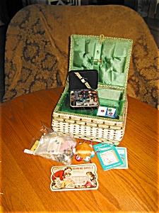 Sewing Box And Vintage Notions Assortment
