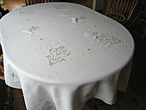 Linen Embroidered Tablecloth Oblong