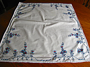 Square Vintage Embroidered Cotton Tablecloth