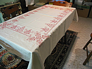 Linen Tablecloth & Napkins Vintage