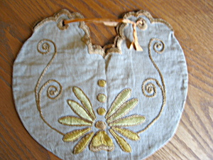 Arts & Crafts Embroidered Linen Pouch