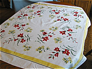 Vintage Simtex Cotton Flower Tablecloth