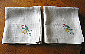 Twelve Vintage Embroidered Linen Napkins