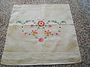 Vintage Embroidered Linen Pillow Cover
