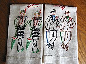 Vintage Guys And Dolls Embroidered Towels