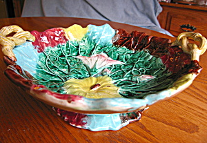 Majolica Antique Morning Glory Bowl