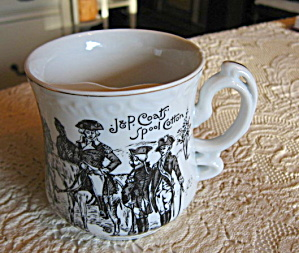 J. P. Coats Spool Cotton Mustache Mug