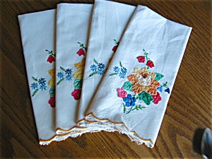 Vintage Embroidered Applique Napkins