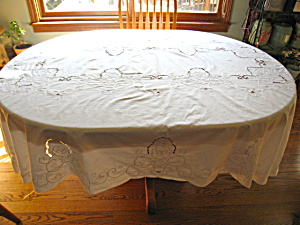 Vintage White Oval Tablecloth