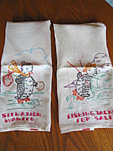 Embroidered Penguin Kitchen Towels