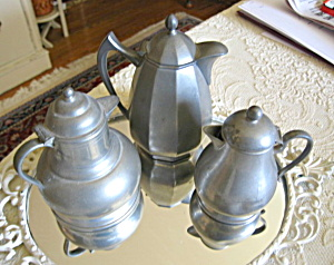 Pewter Syrup Pitcher Trio
