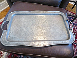 Antique Hammered Pewter Tray
