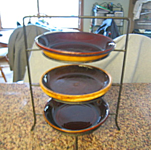 Vintage Stoneware Pie Dishes & Rack