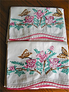 Embroidered Roses And Butterflies Pillowcases