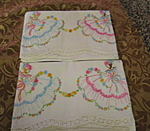 Embroidered Vintage Ladies Pillowcase Pair