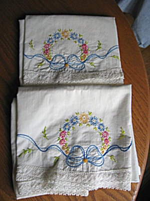 Embroidered Flower & Ribbon Vintage Pillowcases