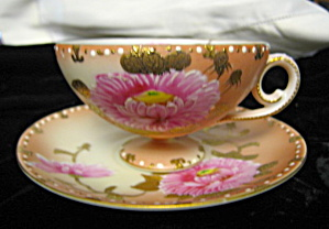 Vintage Enameled Pink Lotus Teacup