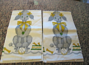 Vintage Poodle Linen Kitchen Towels