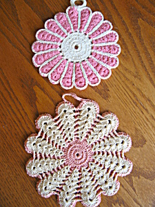 Vintage Pink Crocheted Potholders