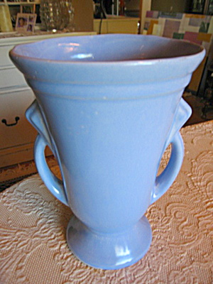 Tall Blue Pottery Vintage Vase
