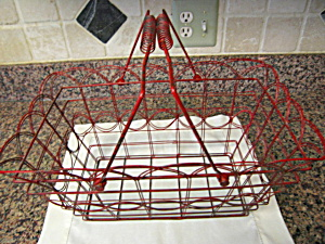 Vintage Red Metal Basket