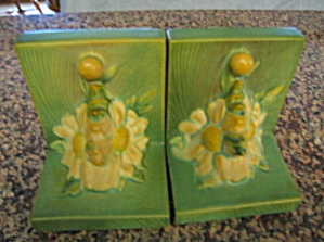 Vintage Roseville Peony Bookends