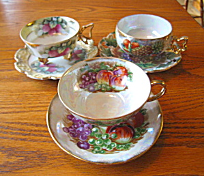 Royal Sealy Luster Variety Teacup Trio