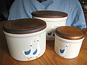 Ransbottom Stoneware Crocks Ducks