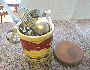 Vintage Ransbottom Crock W/utensils