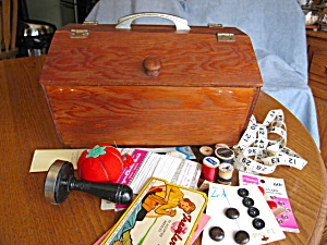 Vintage Wood Sew Box And Notions
