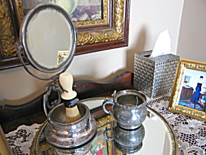 Antique Silverplate Shaving Accessories